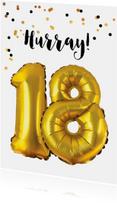 Felicitatiekaart verjaardag 18 jaar goud ballonnen