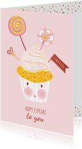 Felicitatiekaart verjaardag cupcake pastel