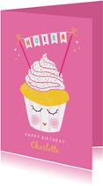 Felicitatiekaart verjaardag cupcake roze