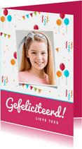 Felicitatiekaart verjaardag feestelijk kind ballonnen