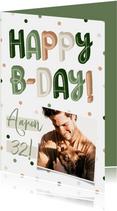 Felicitatiekaart verjaardag Happy B-day met confetti
