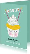Felicitatiekaart verjaardag happy cupcake mint