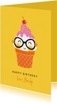 Felicitatiekaart verjaardag happy ijsje geel