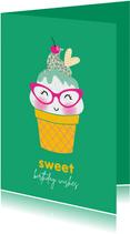 Felicitatiekaart verjaardag happy ijsje groen