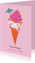 Felicitatiekaart verjaardag happy ijsje roze