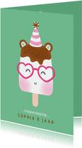 Felicitatiekaart verjaardag ijsje met feesthoedje groen