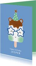 Felicitatiekaart verjaardag ijsje met feestmuts blauw