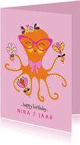 Felicitatiekaart verjaardag octopus bloemen roze