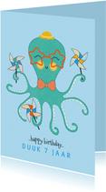 Felicitatiekaart verjaardag octopus molentjes mint