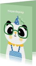 Felicitatiekaart verjaardag panda feestmuts blauw groen