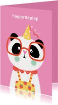 Felicitatiekaart verjaardag panda feestmuts roze geel