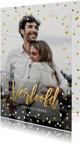 Felicitatiekaart verloving met eigen foto en confetti