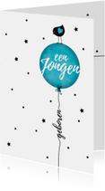 Felicitatiekaart vogeltje silhouet op blauwe ballon