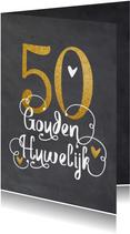 Felicitatiekaart voor 50 jaar gouden huwelijk