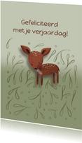 Felicitatiekaart voor een kind met een hertje