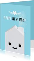Felicitatiekaart voor een nieuw huis met huisje met oogjes