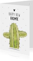 Felicitatiekaart voor een nieuwe woning met mooi cactus