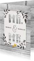 Felicitatiekaart voor huwelijk Mr. & Mr. hout en plantjes