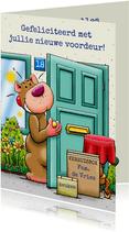 Felicitatiekaart voor iemand die een nieuwe voordeur krijgt