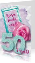 Felicitatiekaart vrouw 50 roos lief