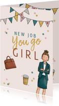 Felicitatiekaart vrouw nieuwe baan