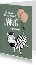 Felicitatiekaart zebra ballonnen