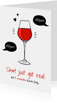 Felicitatiekaart zwanger grappig wijn alcohol