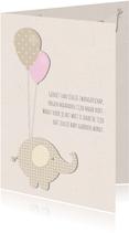 Felicitatiekaart zwangerschap - olifantje met ballonnen