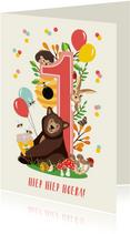 Felicitatiekaartje 1 jaar met vrolijke bosdieren in roze