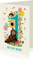 Felicitatiekaartje 1 jaar met vrolijke bosdieren