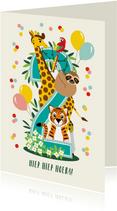 Felicitatiekaartje 2 jaar met vrolijke jungle dieren