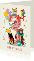 Felicitatiekaartje 3 jaar met vrolijke circusdieren in roze