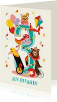 Felicitatiekaartje 3 jaar met vrolijke circusdieren