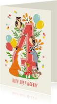 Felicitatiekaartje 4 jaar met vrolijke bosdieren in roze