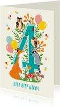Felicitatiekaartje 4 jaar met vrolijke bosdieren