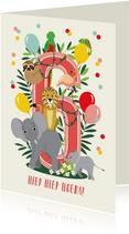 Felicitatiekaartje 6 jaar met vrolijke jungle dieren in roze