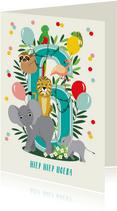 Felicitatiekaartje 6 jaar met vrolijke jungle dieren