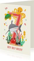 Felicitatiekaartje 7 jaar met dieren uit de oceaan in roze