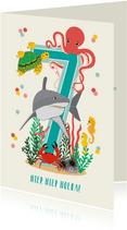 Felicitatiekaartje 7 jaar met dieren uit de oceaan