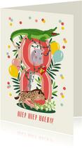 Felicitatiekaartje 8 jaar met vrolijke jungle dieren in roze