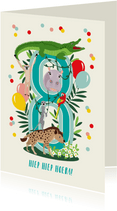 Felicitatiekaartje 8 jaar met vrolijke jungle dieren