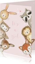 Felicitatiekaartje bosdieren met confetti geboorte meisje