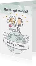 Felicitatiekaartje met bruidspaar op wereldbol