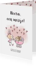 Felicitatiekaartje met meisje en kinderwagen met poppen