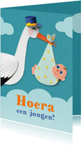 Felicitatiekaartje met ooievaar en baby