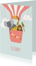 Felicitatiekaartje met vrolijke dieren in een luchtballon