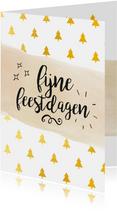 Fijne feestdagen gouden kerstbomen
