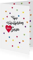 Fijne Valentijnsdag met alle kleuren  hartjes en eigen naam