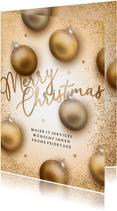 Firmen-Weihnachtskarte goldene Weihnachtskugeln