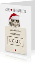 Firmenweihnachtskarte mit Weihnachtskatze
